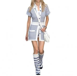 Chanel cashmere white & blue stripe cardigan dress