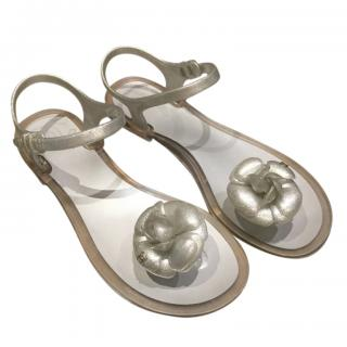 Chanel grey camellia jelly sandals