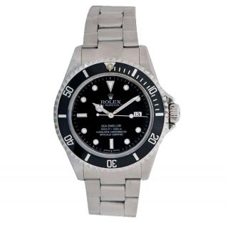 Rolex Stainless Steel Sea Dweller Watch with Black Dial