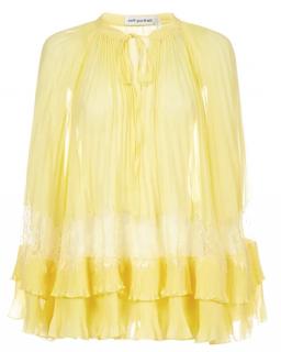 Self Portrait Yellow Chiffon Lace Trim Top