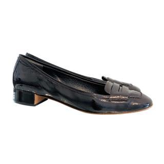Prada patent leather block heel loafers