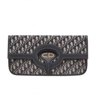 Christian Dior navy foldable oblique jacquard clutch bag