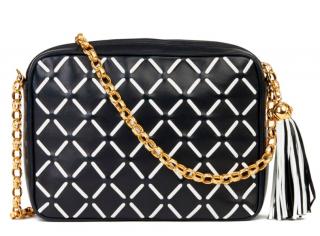 Chanel Navy Diamond Stitch Camera Crossbody Bag