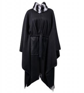 FurbySD black Chinchilla Fur & Cashmere poncho