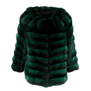 Carmen Marc Valvo Couture Emerald Green Chinchilla Fur Jacket