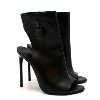 Tom Ford Black Leather Padlock Open Toe Booties