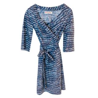 Marni blue printed knee-length dress