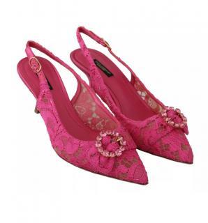 Dolce & Gabbana Pink Lace Crystal Embellished Slingbacks