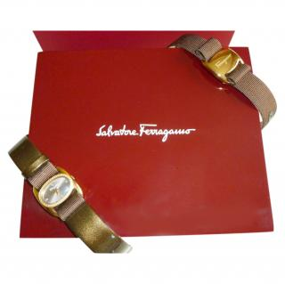 Salvatore Ferragamo brown leather & diamond watch with extra strap
