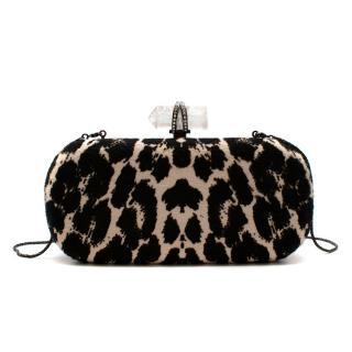 Marchesa Animal Print Calf Hair Clutch with Quartz Crystal Clasp