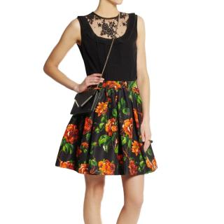 Miu Miu black floral-print skirt