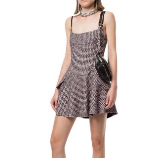 Alexander Wang pink & black cotton-blend tweed flared mini dress