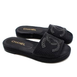 Chanel Woven Leather Trim CC Platform Slides