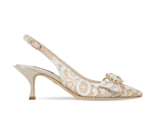 Dolce & Gabbana 60mm Lori Crystal Lace Slingback Pumps