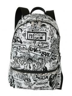 Dolce & Gabbana Black & White Graffiti Print Backpack