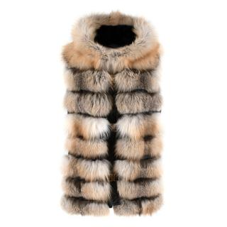 Les Noir Hooded Fox Fur & Leather Gilet