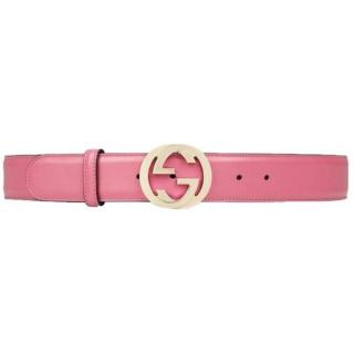 Gucci pink GG buckle leather belt