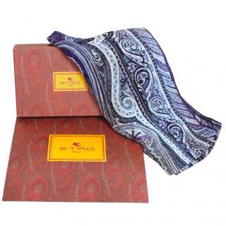 Etro purple paisley silk blend scarf