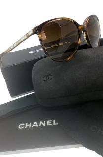 Chanel Tortoiseshell Crystal Leg Sunglasses