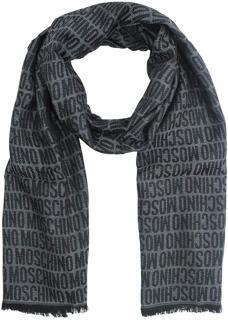 Moschino grey logo print silk blend scarf