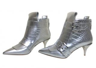 Alexander McQueen silver croc double buckle heeled ankle boots