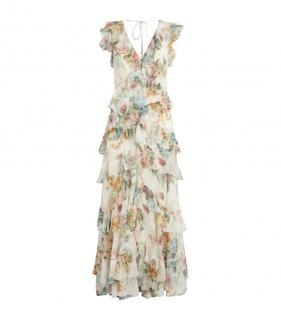 Zimmermann Daphne Printed Chiffon Tiered Dress