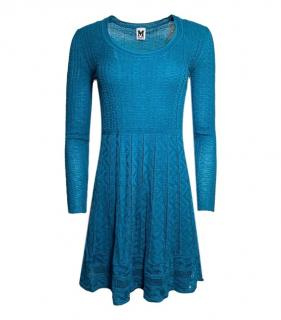 Missoni M blue knit long-sleeve mini dress