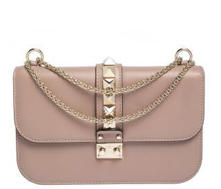 Valentino Rockstud Gla nude leather medium lock flap bag