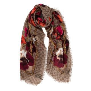 Gucci Supreme Oshibana Flowers Wool Scarf