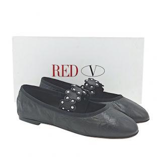 REDValentino Black Studded Strap Ballerinas