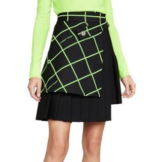 Off White C/O Virgil Abloh Black/Neon Asymmetric Pleated Skirt