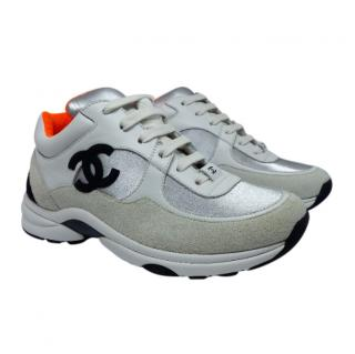 Chanel White Silver & Orange leather runners sneakers