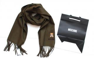 Moschino khaki merino wool bear embroidered scarf