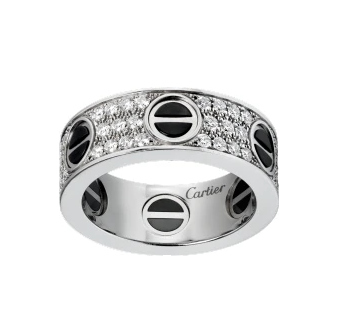Cartier Love Ring, Diamond Paved & Ceramic in White Gold
