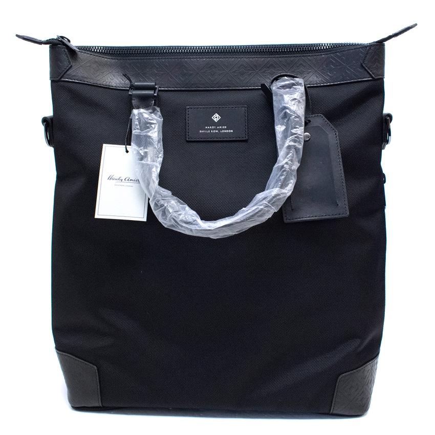 Hardy Amies black canvas messenger bag