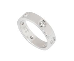 Cartier Love Wedding Band, 6 Diamonds in White Gold