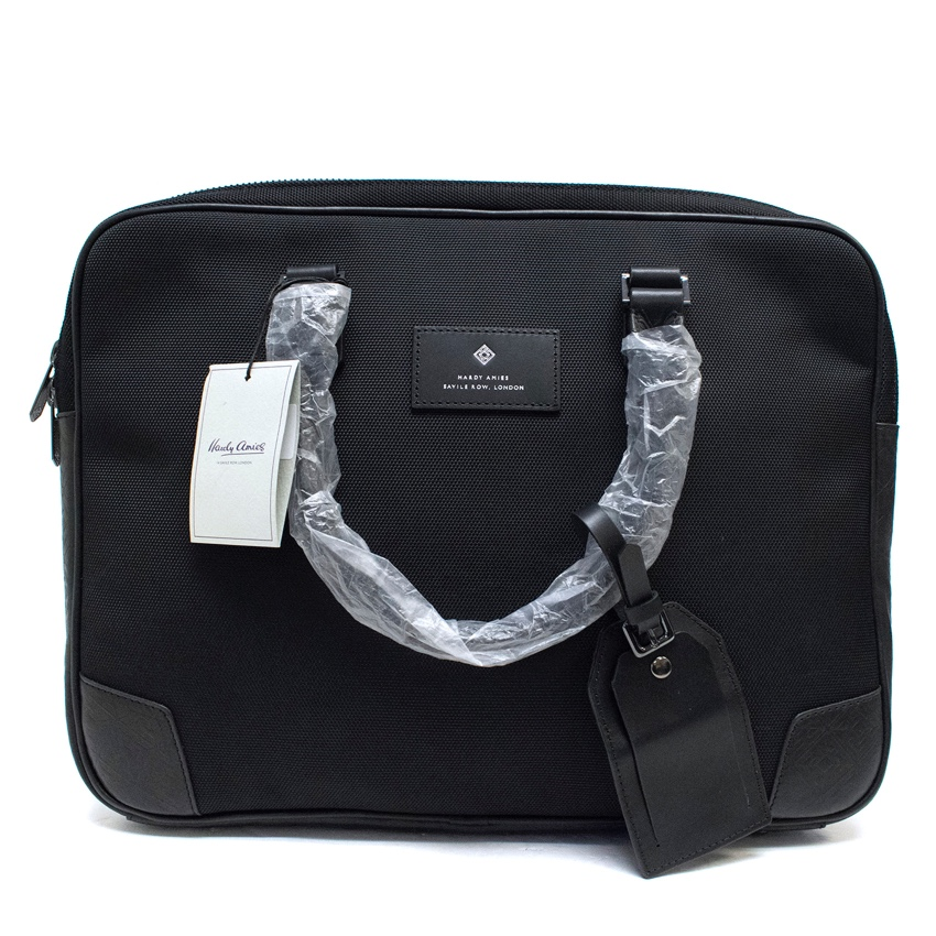Hardy Amies Black Canvas & Leather Briefcase