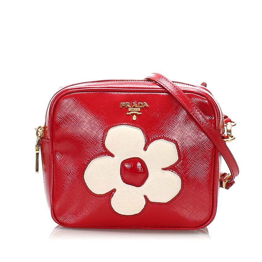 Prada Saffiano Red Floral Crossbody Bag