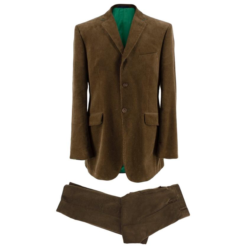 Ozwald Boateng Khaki Corduroy Single Breasted Suit