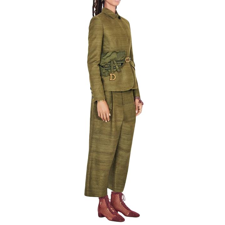 Christian Dior army green silk cruise 2020 pants