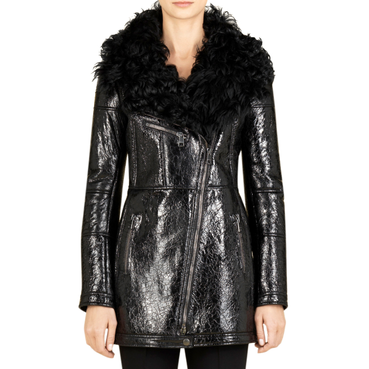 Gucci Crushed Patent Leather Biker Jacket with Shearling Collar
