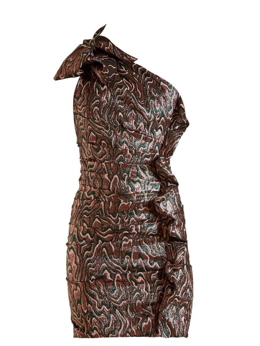 Isabel Marant jacquard ruched asymmetric mini dress