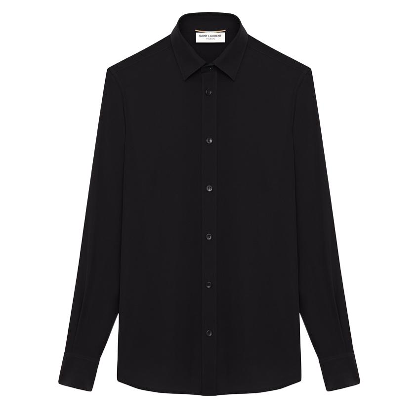 Saint Laurent black Egyptian cotton long-sleeve shirt