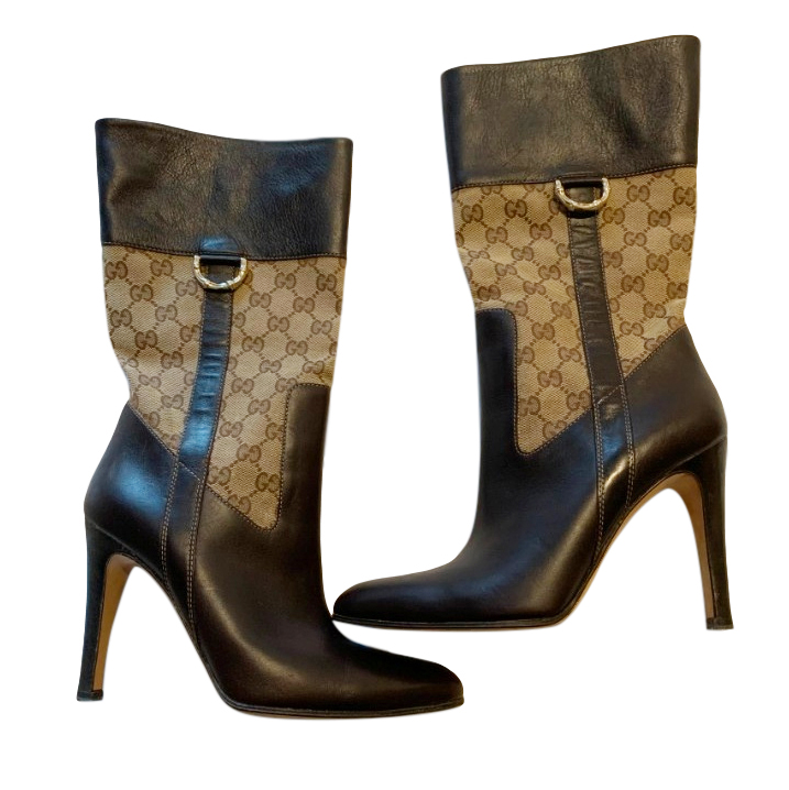 Gucci brown leather monogram GG logo mid-calf boots