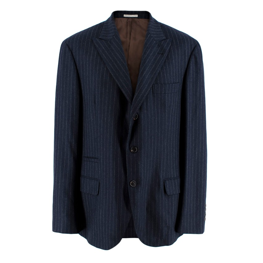 Brunello Cucinelli Mens Pinstripe Navy Tailored Jacket
