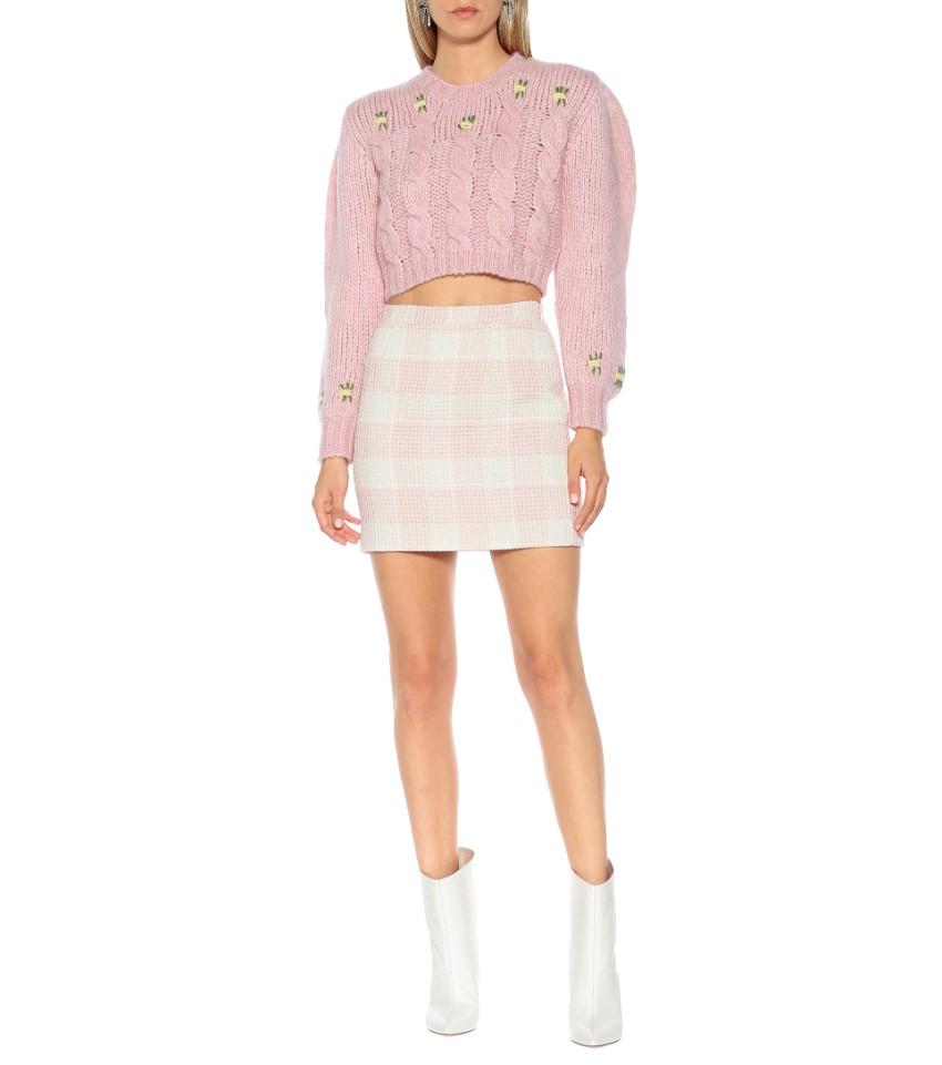Alessandra Rich pink & white gingham mini skirt
