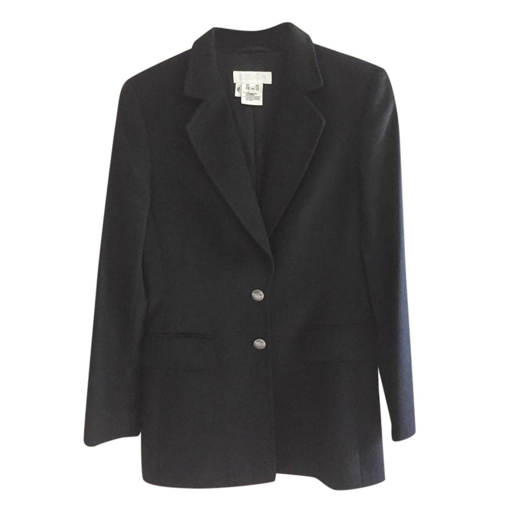 Escada black rabbit blazer jacket