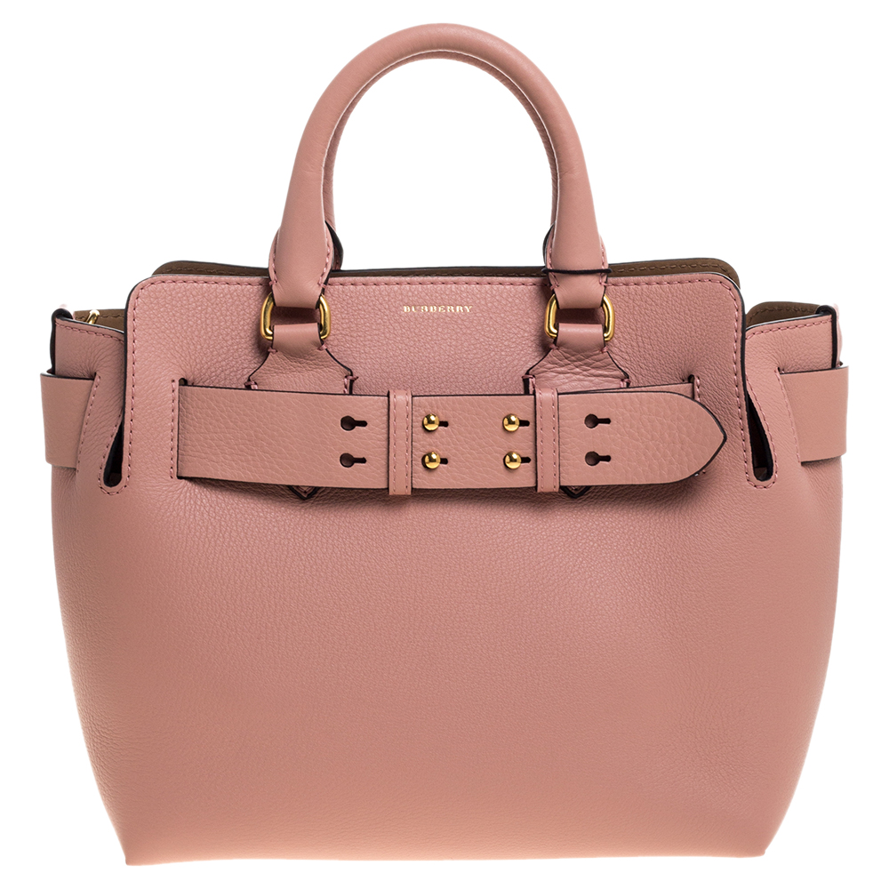Burberry ash pink leather small belt tote bag
