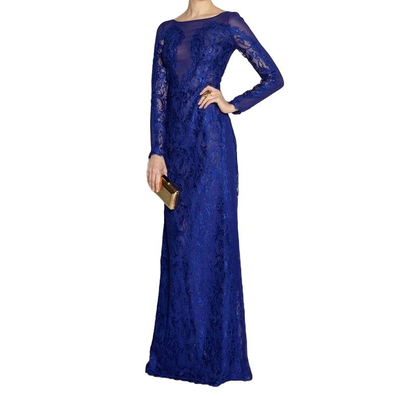 Emilio Pucci Blue Lace Illusion Gown