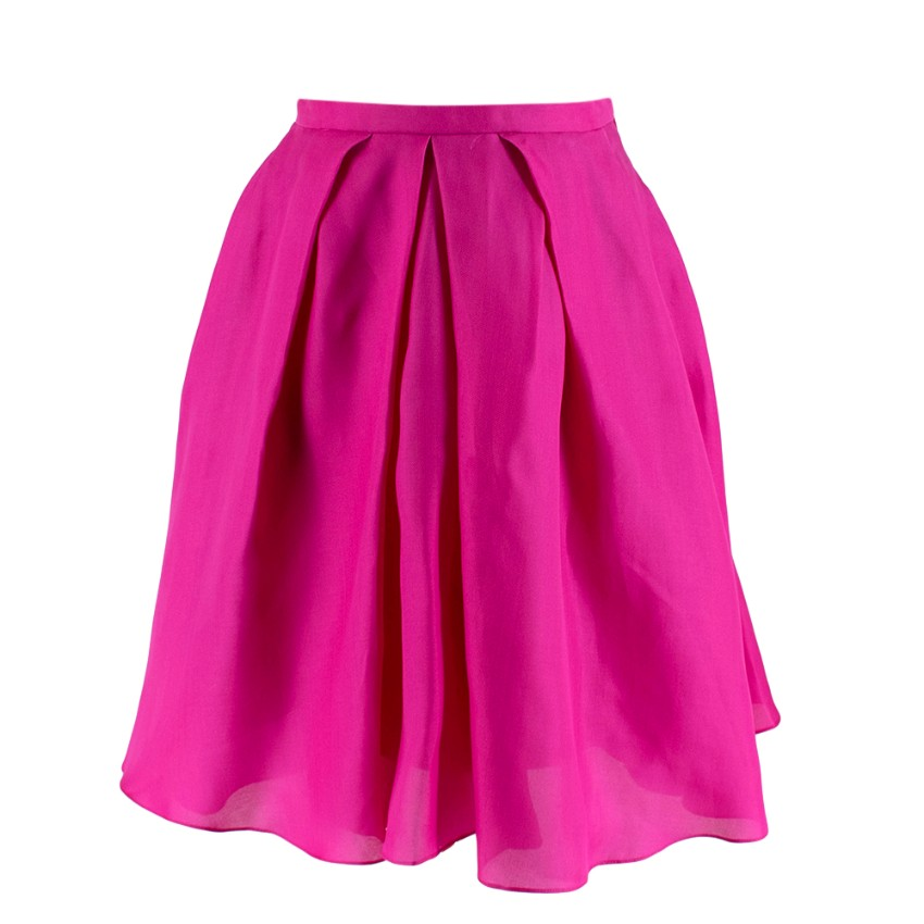 Christian Dior Fuchsia Pleated Silk Mini Skirt